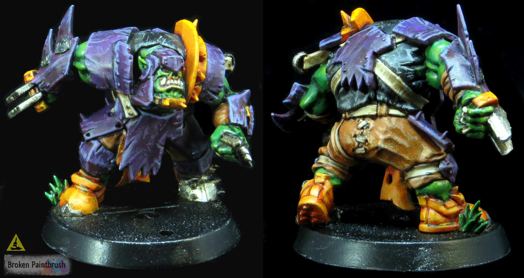 WIP Ork Blood Bowl Lineman With Purple and Orange Armor